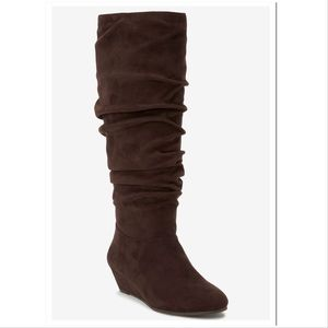 Comfortview Tamara brown suede over knee boots 12W
